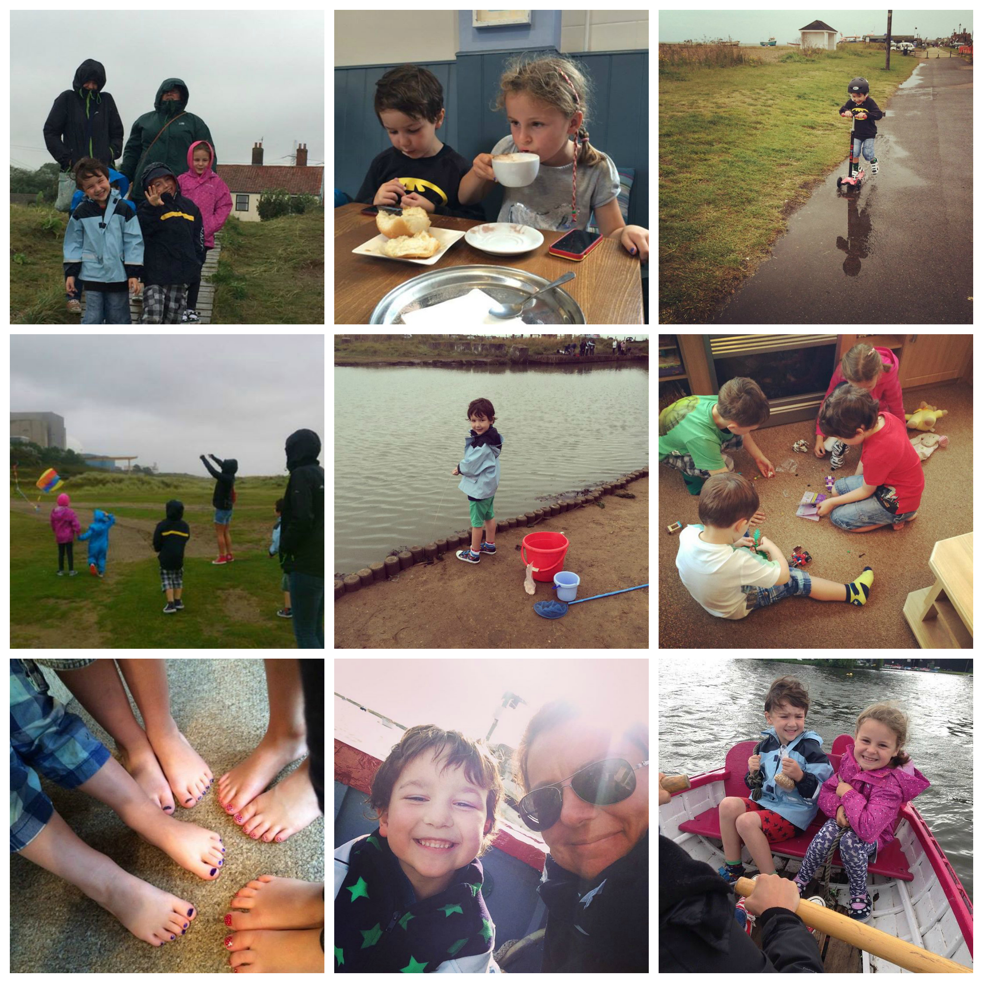 August 2014 - A holiday to Suffolk, rain, crabbing, manicures, rowing and laughing till we cried.