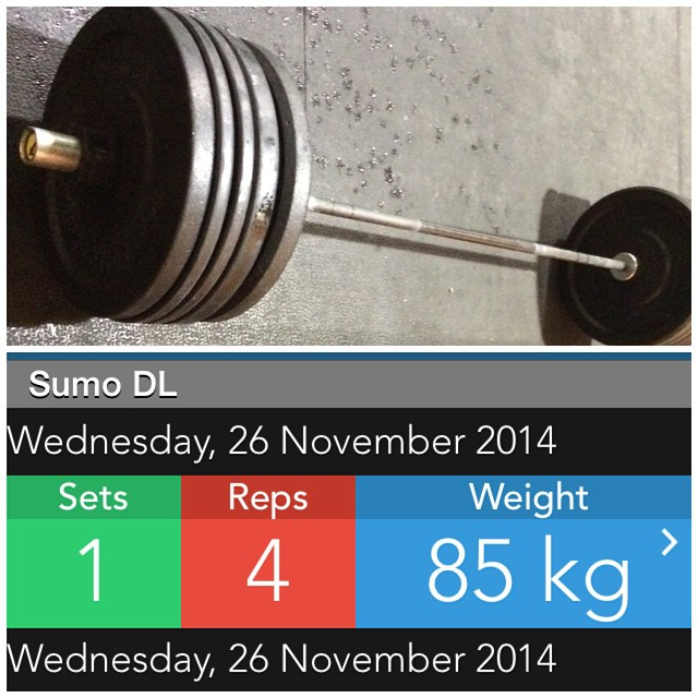 November 2014 - PR Month  85kg Sumo Deadlift for 3